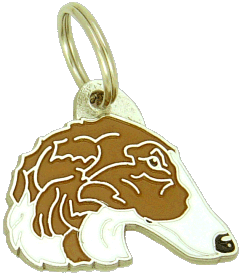 BORZOI WHITE BROWN - pet ID tag, dog ID tags, pet tags, personalized pet tags MjavHov - engraved pet tags online